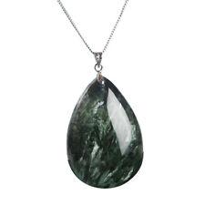 Natural Green Seraphinite Gemstone Water Drop Best Pendant 43x29x10mm AAAA