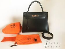 Auth Hermes Kelly 28 Black Box Palladium Silver HW Sellier *BEAUTIFUL*