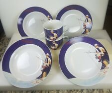Lot Gibson Coca Cola Norman Rockwell Boy Fishing 4 Soup Bowls & 2 Coffee/Tea Cup