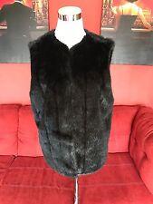 Dennis Basso Black Faux Fur Lined Open Vest Size Small MINT
