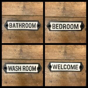 Vintage Style Black & White Enamel Sign - Welcome Bedroom Wash Room & Bathroom