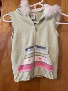 Gymboree Girls Green Multicolor Sweater Hoodie Vest size S 5/6