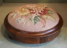 Antique Victorian Needlepoint Footstool