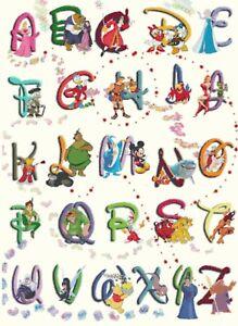 Disney Alphabet (c828) B/W Cross Stitch Chart (Post/PDF) BUY2GETONEFREE SEE DESC