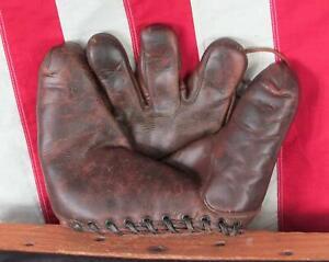 Vintage 1940s Leather Baseball Glove Split Finger Fielders Mitt Ted Williams HOF