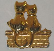 Vintage  JJ  GOLD COLOR TWO CATS SITTING ON BRICK FENCE