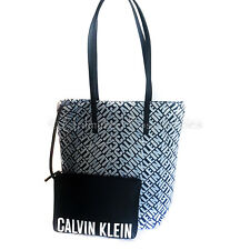 CALVIN KLEIN NEW CK Irena Canvas Tote Bag w FOB Pouch Multi Coloured Blue Tags