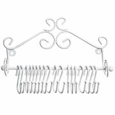 MyGift Jewelry Organizers Wall Mounted White Metal Scrollwork Design Hanging