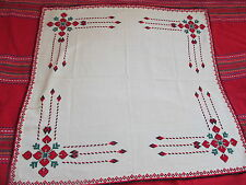 OLD PRIMITIVE HAND EMBROIDERED TABLECLOTH LIGHT YELLOW AND RED
