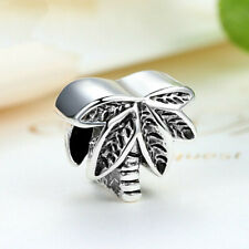 2Pcs Leaves Silver European Charm Crystal Spacer Beads Fit Necklace Bracelet