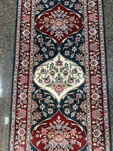 "Green, Red, Cream Hand Knotted Hallway Runner with Rich wool pile 122""x 31"""