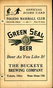 1934 Baseball Program Toledo Mud Hens Rare Buckeye GREEN SEAL BEER Cover