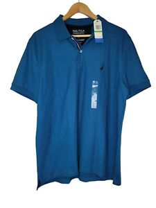 Nautica Performance Men's Deck Shirt Lrg Blue Wicking Breathable Classic Fit New