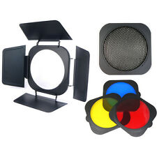 Jinbei Barndoor, Honeycomb Grid + 3 Colour Filter Set - 20cm Fit Flash Gel Light