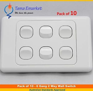 10 pieces - 6 Gang 2 Way Electrical Wall Light Switch SAA
