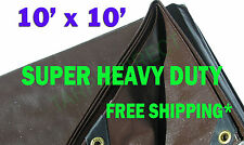 10x10 Brown Super Heavy Duty Waterproof Poly Tarp - ATV Woodpile Roof Cover