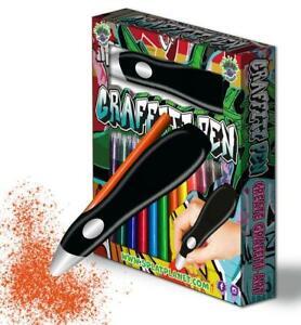 Splat Planet Graffiti Pen Set Airbrush Kit 12 Washable Colours and Stencils