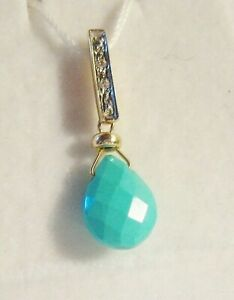 Dainty Solid 14KT Gold Diamond Accent Arizona Faceted Turquoise Slide Pendant