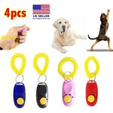 4Pcs Pet Dog Training Clicker Cat Puppy Button Click Trainer Obedience Aid Wrist