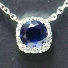 Sparkling Brilliant Blue Sapphire Necklace Women Wedding Jewelry 14K White Gold