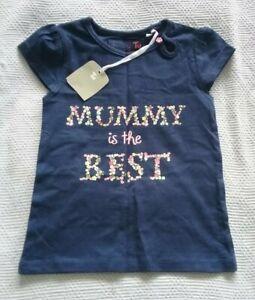 Girls 12-18 Months T-Shirt Navy Blue Floral Top