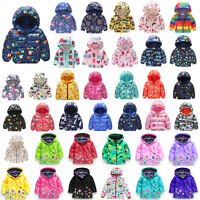 Toddler Kid Baby Boy Girl Hooded Coat Jacket Windbreaker Dinosaur Zip up Hoodies