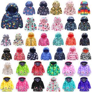 Kids Boy Girls Winter Rain Coat Hoodie Floral Print Jacket Parka Windbreaker Top