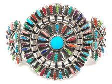 Navajo stabilize Multi Color Cluster Sterling Silver Cuff Bracele - Violet Begay