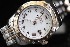 Invicta Womens Angel White Crystal Accented Bezel MOP 18k RGP TT Watch 17490 NEW