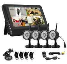 "Wireless 2.4G 4CH Quad DVR 4 Camera with 7"" TFT LCD Monitor Home Security System"