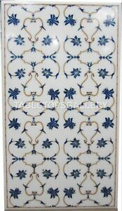 3'x2' Marble Dining Table Top Inlay Lapis Mosaic Floral Hallway Decorative W246A