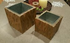 2pc Pottery Barn Carved Wood Potpourri Cachepot