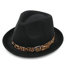 Men Women Fedora Hats Trilby Caps Up-turn Brim Leopard Band Solid Wool Panama
