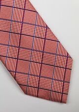 DRAKE'S LONDON TIE WOVEN SILK PRINCE OF WALES CHECK RED GREY CLASSIC DESIGNER