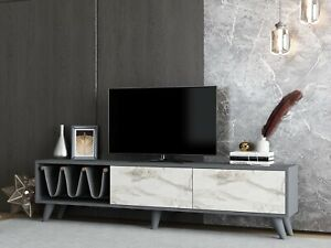Anthracite Grey & Marble Effect Wooden TV Stand With Magazine Inserts- Ideal Ant