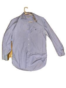 Nice Burberry London USA Classic Nova Check Cuff Denim Button Shirt Large Beauty