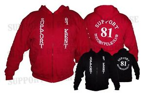 SUPPORT 81 KENT HELLS ANGELS ENGLAND Zip Up Hoody Hoodie Jacket BIG RED MACHINE