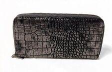Zipper Wallet Pewter Thunderstorm Crocodile Embossed USA Shipper