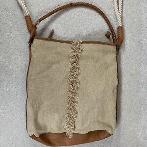 FREE PEOPLE Crossbody Purse Tote Shoulder Bag Beige Canvas Leather Trim