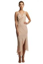 Haute Hippie Sleeveless Cowl-Neck Asymmetric Hem Silk Maxi Dress  size M