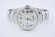 NEW CARTIER BALLON BLEU DUEL TIME STAINLESS DIAMOND ENCRUSTED WATCH W6920011