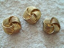 Vintage Button Covers, Lot of 3, Gold Tone Metal, Swirl Design