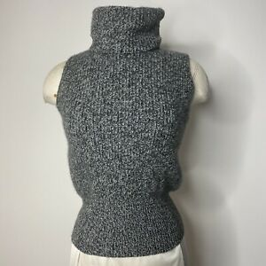 Theory sz Small Turtleneck Sleeveless Sweater Gray Knit Ribbed Women's Cashmere