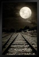 Abandoned Railroad Tracks Moonlight Photo by ProFrames Framed Poster 12x18