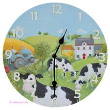 Wanduhr Bilderuhr Uhr Bild - Kühe in Landschaft - auf Weide Wiese Traktor