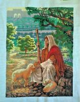 "NEW completed finished Cross stitch""Jesus Shepherd""home decor gifts"