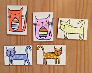 Cute cats, Hand painted cat fridge magnet, wooden mini picture, cat lovers gift