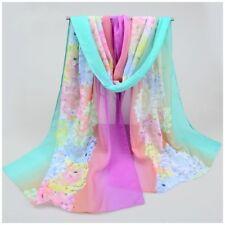 destockage foulard écharpe neuf mousseline de soie fleurs pivoine vert  violet 67215276c8e8