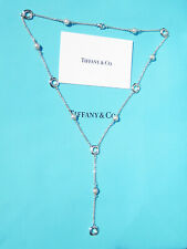 Tiffany & Co Sterling Silver Cushion & White Pearl Lariat Drop Necklace 19 Inch
