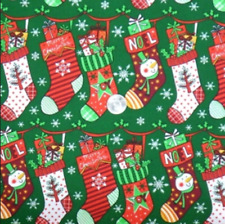 Holiday Christmas Hanging Stocking Snowman 100% cotton fabric by the yard